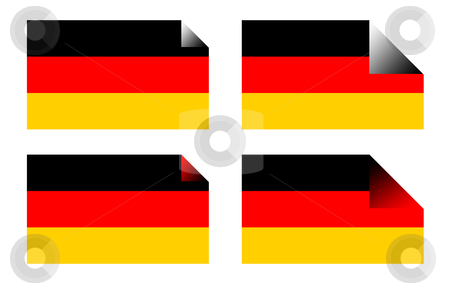 German flag labels or stickers stock photo, German flag labels or stickers isolated on white background. by Martin Crowdy