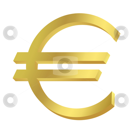 Gold Euro sign or symbol stock photo, Gold Euro sign or symbol; isolated on white background. by Martin Crowdy