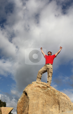Achievement stock photo, At the top by allihays