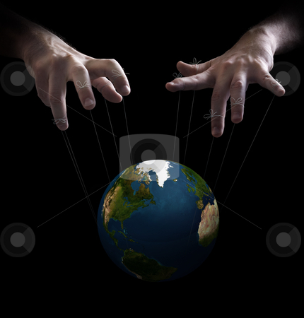 World puppet master stock photo, Hand with cords manipulate the destiny of the world by Giordano Aita