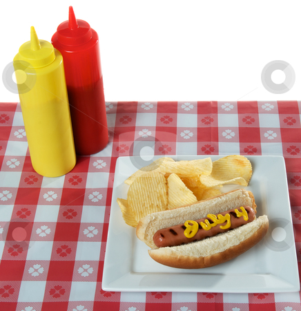July 4th, Independence Day, Hot Dog stock photo, July 4th, Independence Day, Hot Dog on white plate by visceralimage