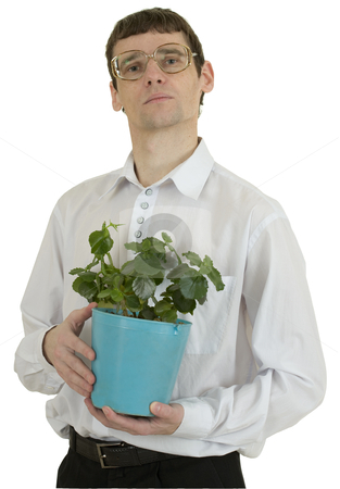Man in spectacles with window plant in flowerpot stock photo, Portrait man in spectacles with window plant in flowerpot by Alexey Romanov