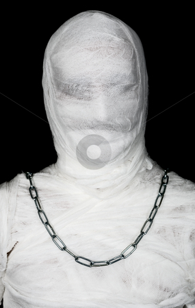 Egypt mummy portrait stock photo, Egypt mummy portrait with chain of neck on black by Alexey Romanov