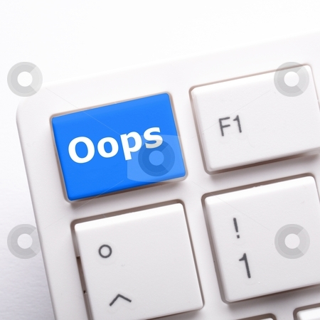 Oops stock photo, oops key on computer keyboard showing mistake concept by Gunnar Pippel