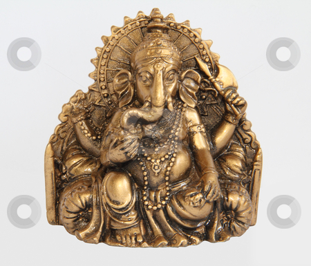 Ganesha stock photo, Ganesha. India. Metal statue of the god-elephant.  by vladnad