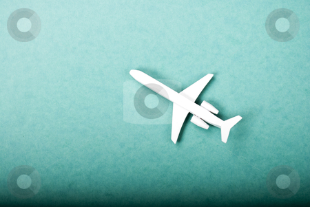 Airplane stock photo, airplane on green background toy by wisiel