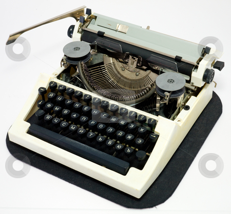 Typewriter stock photo, Old ancient typewriter on a white background by Alexey Romanov