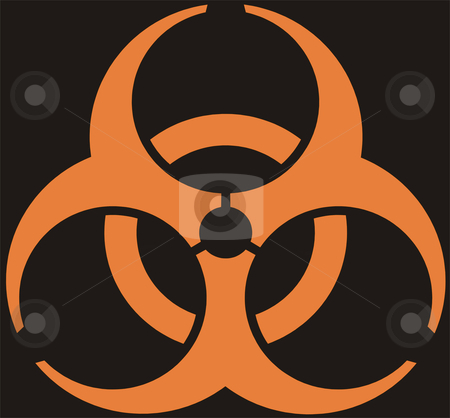 Biohazard stock photo, Biohazard - an orange emblem on a black background by Alexey Romanov