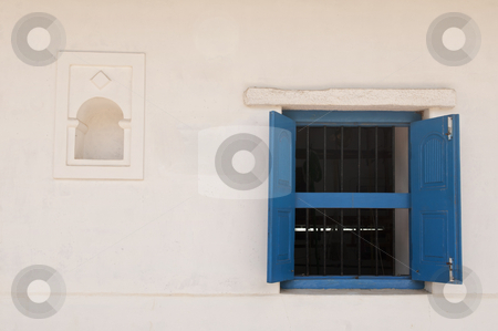 Blue Window stock photo, blue windw isolated on an indian wall by Arvind Balaraman