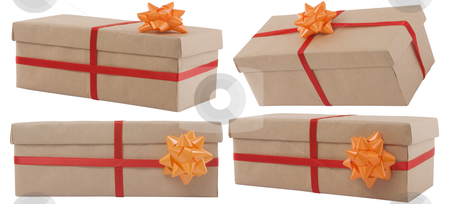 Gift box with red ribbon stock photo, gift box with red ribbon on white background by caimacanul