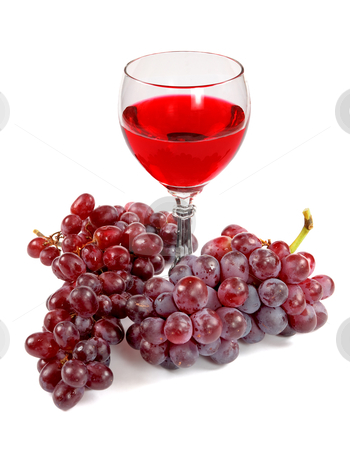 Glass of red wine and grapes clusters stock photo, Glass of red wine and grapes clusters on a white background by Alexey Romanov