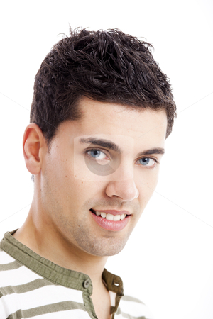 Young man stock photo, Portrait of handsome young man smiling, isolated on white background by ikostudio