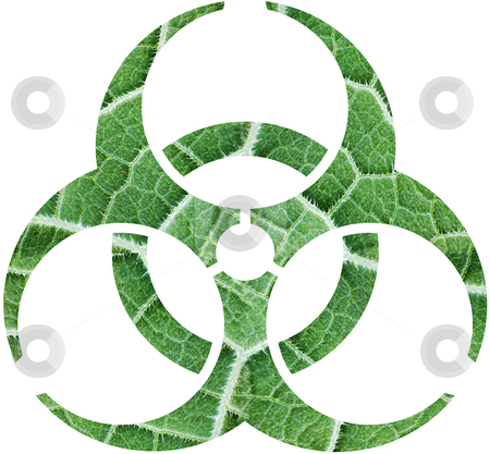 Foliage biohazard stock photo, The biohazard from surface of green leaf with foliage by Alexey Romanov