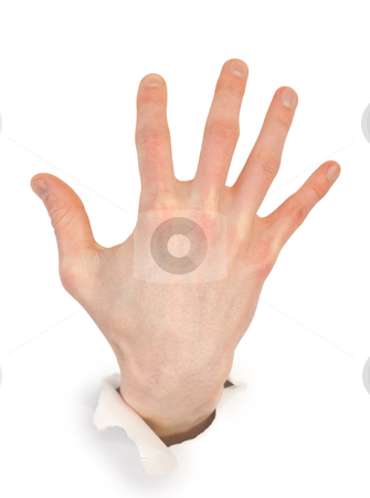 Male hand through white paper stock photo, Male hand through white paper photographed on a white background by Alexey Romanov