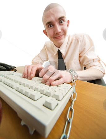 Shackles stock photo, Man riveted chain to keyboard on the white background by Alexey Romanov