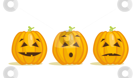 Cute Halloween pumpkins stock photo, Cute Halloween pumpkins, vector illustration by kariiika