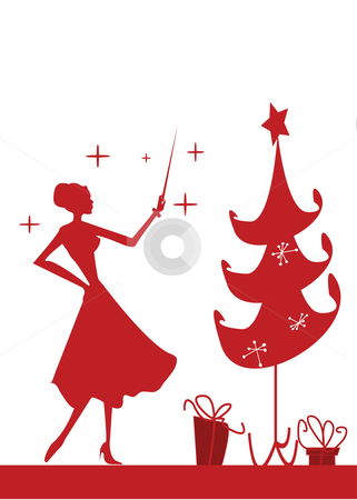 Christmas woman silhouette in front of a Christmas tree, stock photo, Christmas woman silhouette in front of a Christmas tree, vector illustration by kariiika