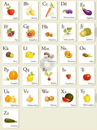 Fruits and vegetables  alphabet cards stock photo, Fruits and vegetables  alphabet cards , illustration by kariiika