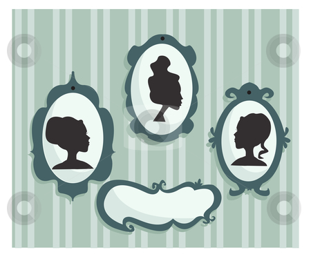 Woman portraits silhouette with place for your text stock photo, Woman portraits silhouette with place for your text, vector illustration by kariiika