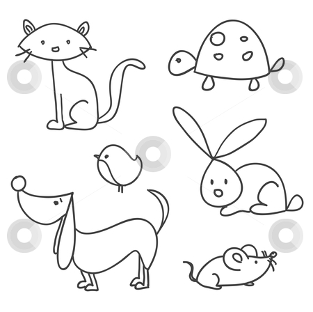 Hand drawn cartoon pets stock photo, Hand drawn cartoon pets, vector illustration by kariiika