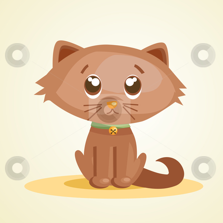 Cute cartoon cat stock photo, Cute cartoon cat, vector illustration by kariiika