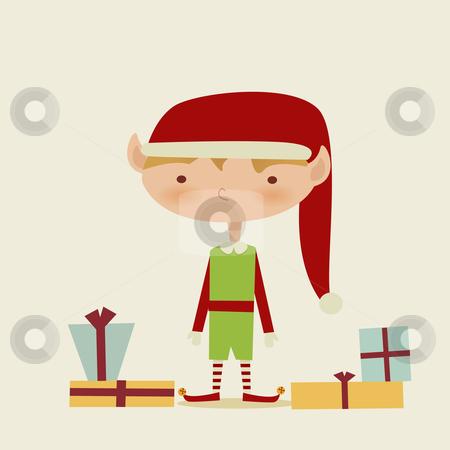 Cute retro Christmas elf stock photo, Cute retro Christmas elf, vector illustration  by kariiika