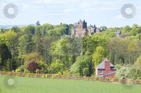 Ayton Castle stock photo, looking northwards to Ayton castle in Berwickshire by Denovan