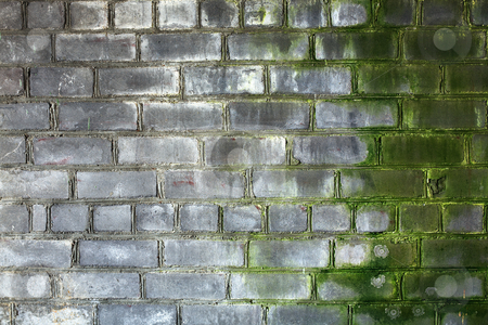 Brick gray old weathered wall stock photo, Surface of old, dirty, weathered, brick wall by Alexey Romanov