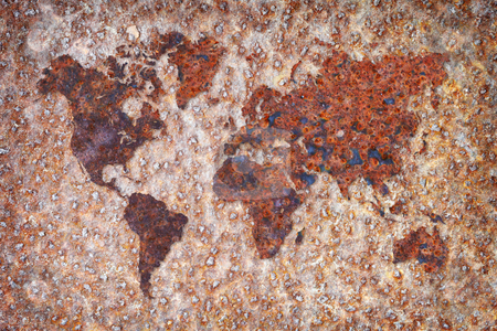 World map - corrosion stains on metal stock photo, The world map formed by corrosion stains on metal by Alexey Romanov