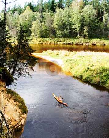 Trip on kayak to down the river Gauja  stock photo, Trip on kayak to down the river Gauja on national park Ligatne, Latvia   by Tatjana Keisa