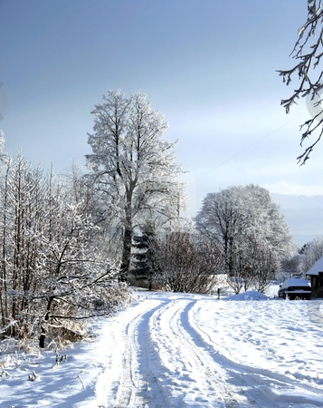 Snow road stock photo, Snow road in rural locality by Tatjana Keisa