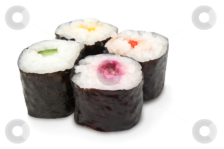 Fresh Maki rolls stock photo, Four fresh Maki rolls arranged over white by Samantha Craddock