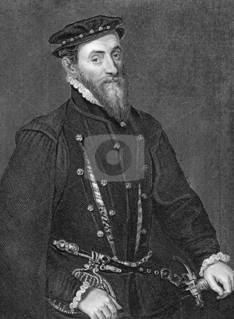 Thomas Gresham stock photo, Thomas Gresham (1519-1579) on engraving from 1838. English merchant and financier who worked for King Edward VI and Queens Mary I and Elizabeth I. Engraved by H.Robinson after a painting by Holbein and published by J.Tallis & Co. by Georgios Kollidas