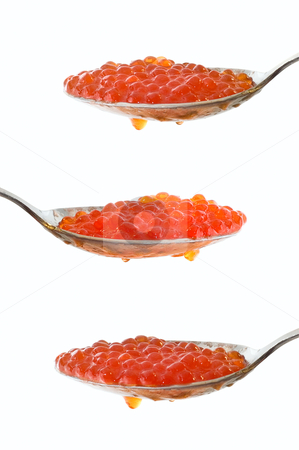 Caviar at spoon  stock photo, Caviar at spoon on white background by olinchuk