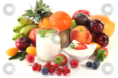 Fruit yogurt stock photo, Fruit yogurt with native and exotic fruit and berries by Marén Wischnewski
