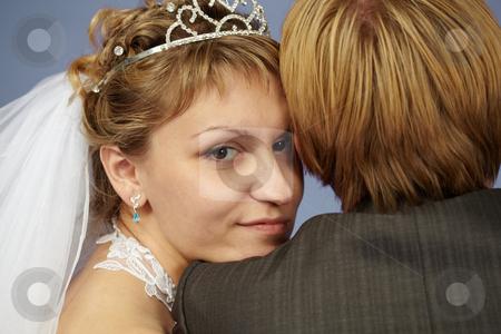 Happy bride on shoulder groom stock photo, Happy bride put her head on his shoulder groom by Alexey Romanov