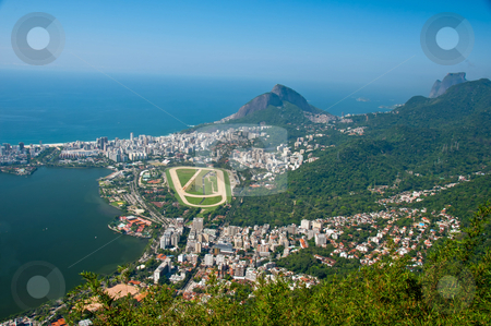 Rio de Janeiro, Brazil stock photo, Views of Leblon,Jockey Club and Racetrack from Christ the Redeemer Statue, Corcovado Mountain by liverbird