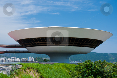 Niteroi Contemporary Art Museum, Rio de Janeiro, Brazil stock photo, Exterior view showing the modern architecture of the Museum that overlooks the city. by liverbird