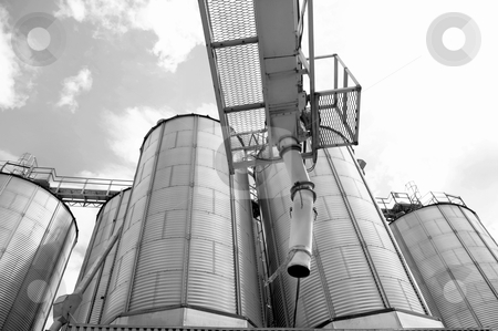 Grain and wheat storage tanks stock photo, agricultural abstract black and white of grainary container steel tanks for wheat and grain storage. by JOSEPH S.L. TAN MATT
