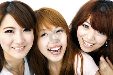 Happy group of asian girls smiling stock photo, Happy group of asian girls smiling by tomwang