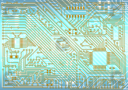 Hi-tech industrial electronic background stock photo, Hi-tech industrial electronic golden - blue background by Alexey Romanov