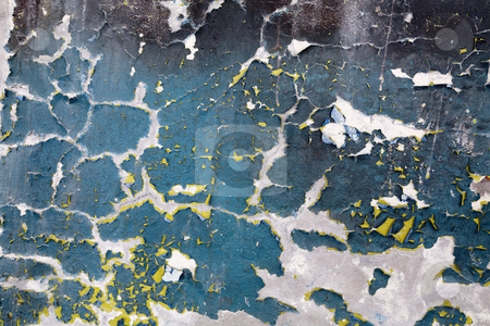 Painted peeled old wall background stock photo, The painted peeled old weathered wall background by Alexey Romanov