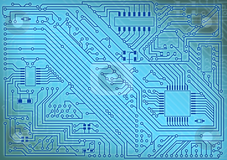 Circuit board electronic industrial background stock photo, Circuit board electronic industrial blue background by Alexey Romanov