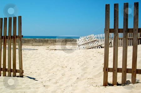 Fence stock photo, fence on the beach by inesfot