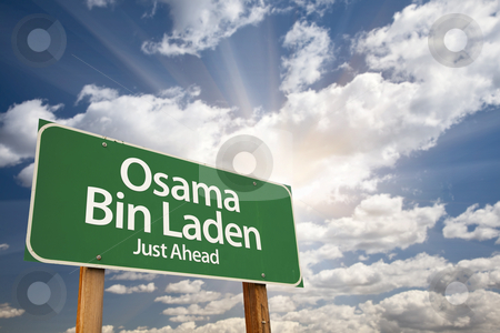 Osama Bin Laden Green Road Sign stock photo, Osama Bin Laden Green Road Sign on Dramatic Blue Sky with Clouds. by Andy Dean