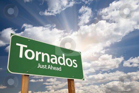 Tornados Green Road Sign stock photo, Tornados Green Road Sign on Dramatic Blue Sky with Clouds. by Andy Dean