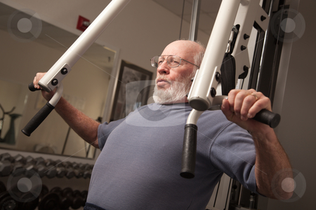 Senior Adult Man Working Out in the Gym. stock photo, Active Senior Adult Man Working Out in the Gym. by Andy Dean