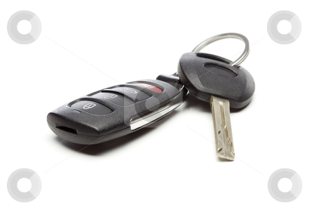 Modern Car Key and Remote on White stock photo, Modern Car Key and Remote Isolated on a White Background. by Andy Dean