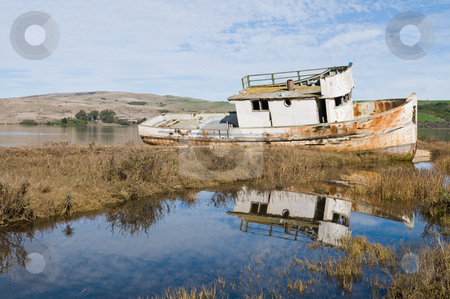 Fishing boat stock photo, Beached fishing boat on Tomales Bay, Inverness, California by Harris Shiffman