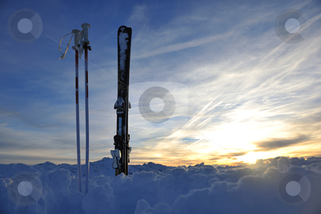 Mountain snow ski sunset stock photo, mountain snow ski with beautiful sunset in background by Benis Arapovic